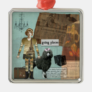 Vintage Images Travel Altered Art Ornament