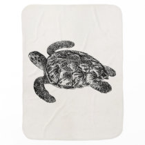 Vintage Imbricated Sea Turtle - Turtles Template Baby Blanket
