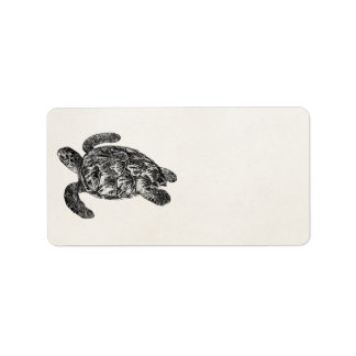 Vintage Imbricated Sea Turtle - Turtles Template Label