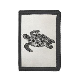 Vintage Imbricated Sea Turtle - Turtles Template Tri-fold Wallet