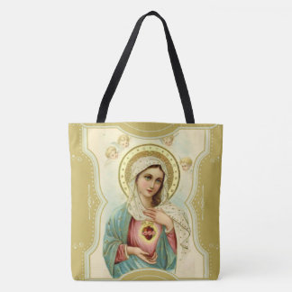 Vintage Immaculate Heart of Mary w/cherubs Tote Bag