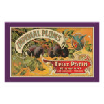 Vintage Imperial Plums Lable Poster