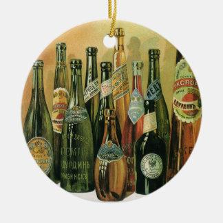 Vintage Imported Beer Bottles, Alcohol, Beverages Ceramic Ornament