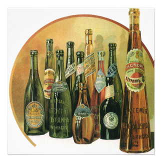 Vintage Imported Beer Bottles Alcohol Beverages Personalized Announcements