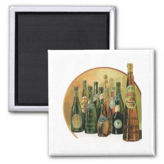 Vintage Imported Beer Bottles, Alcohol, Beverages Magnet