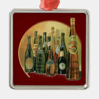 Vintage Imported Beer Bottles, Alcohol, Beverages Metal Ornament