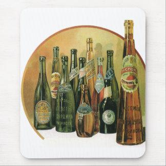 Vintage Imported Beer Bottles, Alcohol, Beverages Mouse Pad