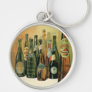Vintage Imported Beer Bottles, Alcohol, Beverages Silver-Colored Round Keychain