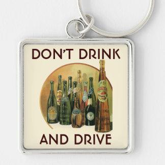 Vintage Imported Beer Bottles, Alcohol, Beverages Silver-Colored Square Keychain