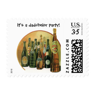 Vintage Imported Beers, It's a Dadchelor Party! Postage Stamp