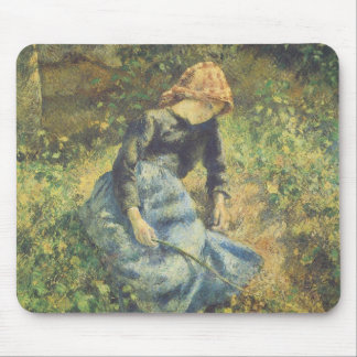 Vintage Impressionism Art, Shepherdess by Pissarro Mouse Pad
