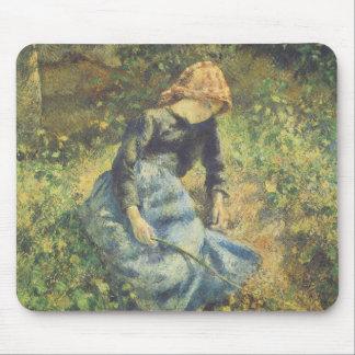 Vintage Impressionism Art, Shepherdess by Pissarro Mouse Pad