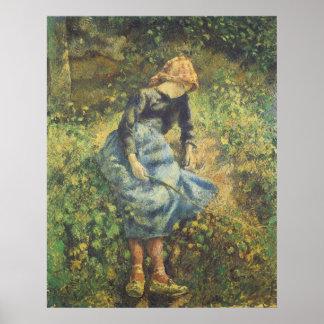 Vintage Impressionism Art, Shepherdess by Pissarro Poster