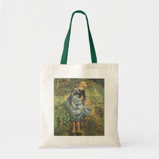 Vintage Impressionism Art, Shepherdess by Pissarro Tote Bag