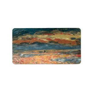 Vintage Impressionism Art, Sunset at Sea by Renoir Address Label