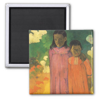 Vintage Impressionism Art, Two Sisters by Gauguin 2 Inch Square Magnet