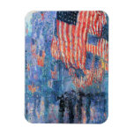 Vintage Impressionism, Avenue in the Rain, Hassam Rectangular Photo Magnet