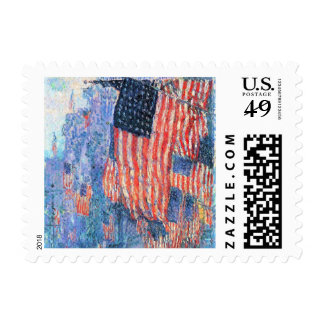 Vintage Impressionism, Avenue in the Rain, Hassam Stamps