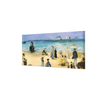 Vintage Impressionism, Beach at Boulogne by Manet Canvas Print