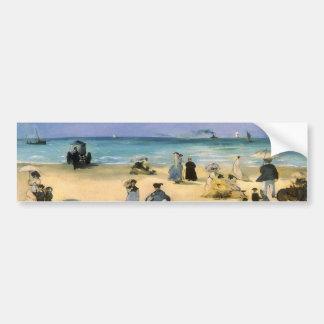 Vintage Impressionism, Beach at Boulogne by Manet Car Bumper Sticker