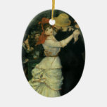 Vintage Impressionism, Dance at Bougival by Renoir Double-Sided Oval Ceramic Christmas Ornament
