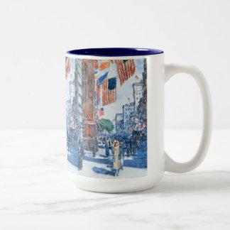 Vintage Impressionism, Flags Fifth Avenue, Hassam Two-Tone Coffee Mug