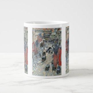 Vintage Impressionism, Flags on 57th Street Hassam 20 Oz Large Ceramic Coffee Mug
