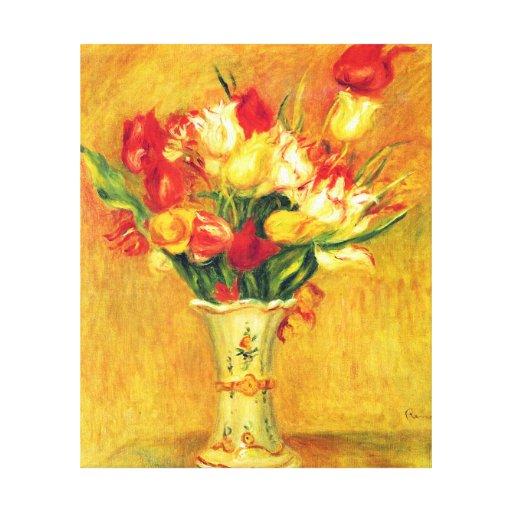 Vintage Impressionism Flowers, Tulips by Renoir Canvas Print