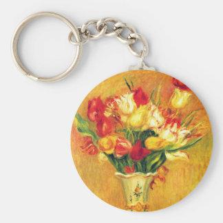 Vintage Impressionism Flowers, Tulips by Renoir Basic Round Button Keychain