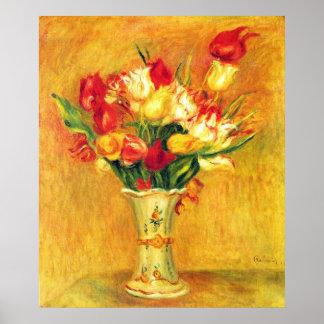 Vintage Impressionism Flowers, Tulips by Renoir Poster