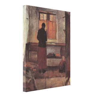 Vintage Impressionism, Girl in the Kitchen, Ancher Canvas Print