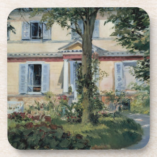 Vintage Impressionism, House at Rueil by Manet Coaster