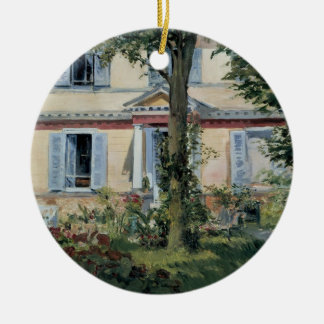 Vintage Impressionism, House at Rueil by Manet Double-Sided Ceramic Round Christmas Ornament
