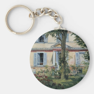 Vintage Impressionism, House at Rueil by Manet Keychain