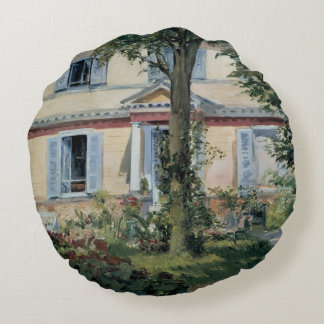 Vintage Impressionism, House at Rueil by Manet Round Pillow