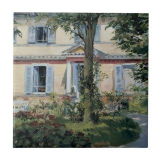 Vintage Impressionism, House at Rueil by Manet Tile
