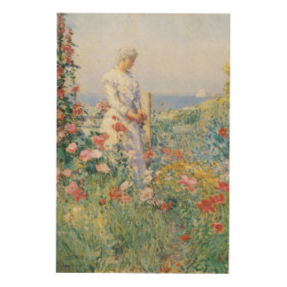 Vintage Impressionism, In the Garden by Hassam Wood Wall Art