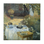 Vintage Impressionism, Luncheon by Claude Monet Small Square Tile