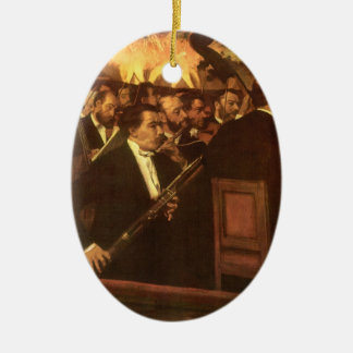 Vintage Impressionism, Orchestra of Opera by Degas Double-Sided Oval Ceramic Christmas Ornament