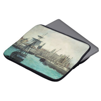 Vintage Impressionism, Port at Calais by Manet Computer Sleeves