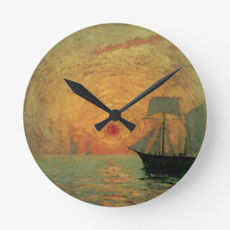 Vintage Impressionism, Red Sun by Maxime Maufra Round Clock