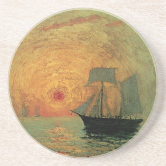 Vintage Impressionism, Red Sun by Maxime Maufra Sandstone Coaster