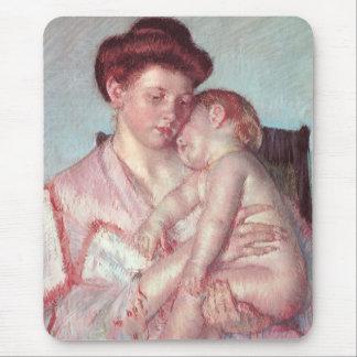 Vintage Impressionism, Sleepy Baby by Mary Cassatt Mouse Pad