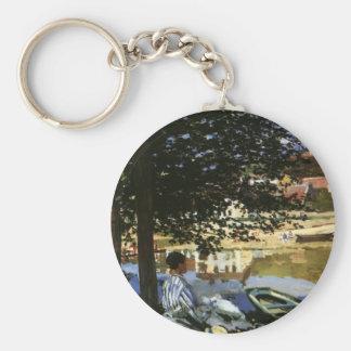 Vintage Impressionism, The Bank of Seine by Monet Basic Round Button Keychain