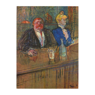 Vintage Impressionism, The Bar by Toulouse Lautrec Wood Wall Decor