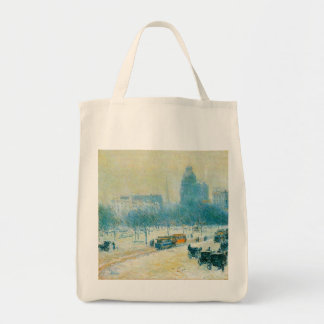Vintage Impressionism, Union Square by Hassam Grocery Tote Bag