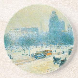 Vintage Impressionism, Union Square by Hassam Sandstone Coaster