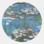Vintage Impressionism, Waterlilies by Claude Monet Classic Round Sticker