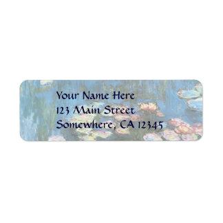 Vintage Impressionism, Waterlilies by Claude Monet Return Address Label