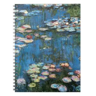 Vintage Impressionism, Waterlilies by Claude Monet Spiral Note Book